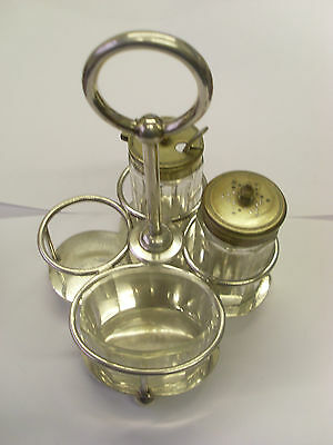LMS F/TITLED&CRESTED 1920's S/PLATED CONDIMENTS SET+GLASSWARE used on ROYAL SCOT