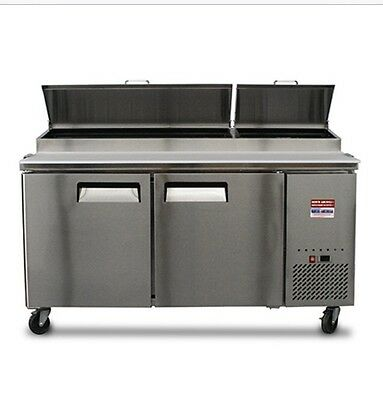 "New 2 DOOR 67"" PIZZA PREP TABLE Unit Commercial Refrigerator 6' 72"" Cooler P-67"