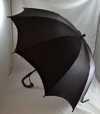 VINTAGE 1920s S FOX & CO PARAGON BLACK SILK UMBRELLA - LIZARD SKIN HANDLE