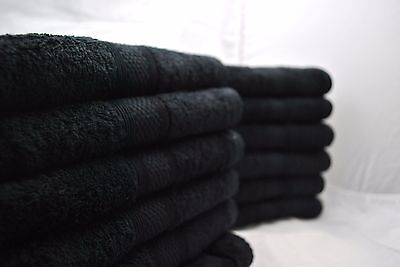 Pack of 12 400gsm black hairdressing hand towels