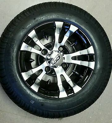 "GOLF CART 10"" MACHINED/BLACK VAMPIRE WHEELS/RIMS and 205/50-10 LOW PROFILE TIRES"