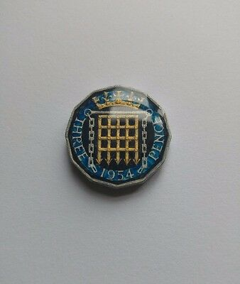 Genuine Hand Enameled Threepence Coin 1954