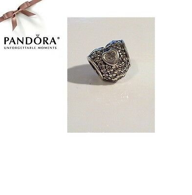 RETIRED Pandora Sterling Silver & CZ Pave Charm - IN MY HEART - 791168CZ