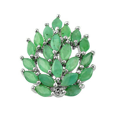 AMAZING TOP NATURAL 5X2.5mm MARQUISE GREEN EMERALD STERLING 925 SILVER BROOCH