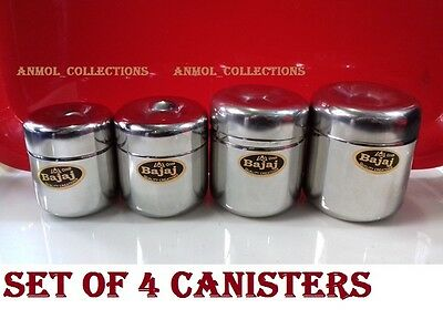 Stainless Steel Set of 4 Canister/Jar/Container Set-Multi Purpose-Food Storage