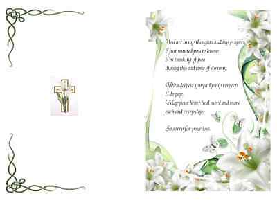 Patterned  A5 Sympathy card inserts with verse  x15