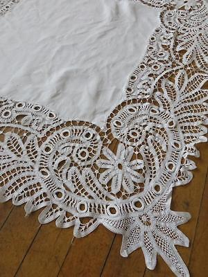 Intricate Antique Irish Linen Table Cloth- Lovely Tape Lace
