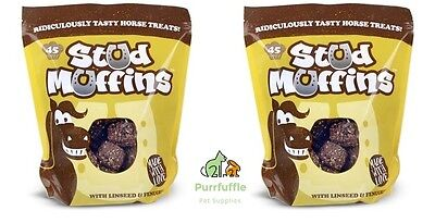2X Packs Of 45 Stud Muffin Horse Food Treats With Linseed & Fenugreek Bulk Buy