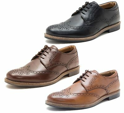 Red Tape Backford Mens Leather Brogue Derby Lace Up Shoes