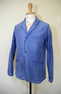 VTG 1950s French Moleskin Blue Work Chore Jacket Backbelt Blazer Coat Workwear