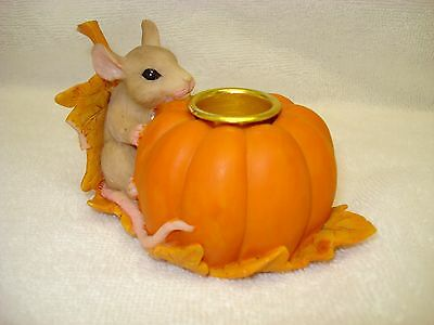 Charming Tails Mouse Candleholder Rare Signed Pumpkin