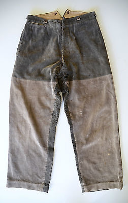 VTG French 1930s Patched Corduroy Work Trousers Pants Chore Workwear Cinch Back