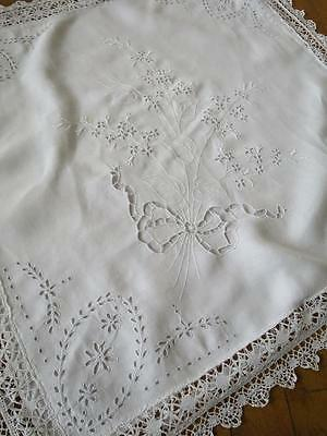 Antique Irish Linen Cushion Cover Sham- Hand Made Bobbin Lace & Embroidery