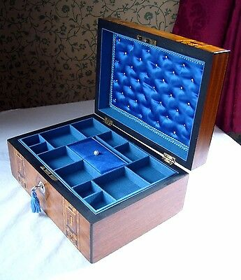 Antique Victorian Walnut Tunbridge Ware & Mother Of Pearl Inlaid Jewellery Box