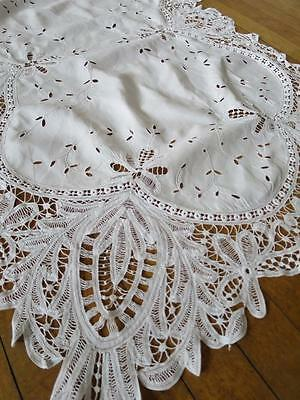 Beautiful Antique Irish Linen Table Topper- Lovely Hand Embroidery & Tape Lace