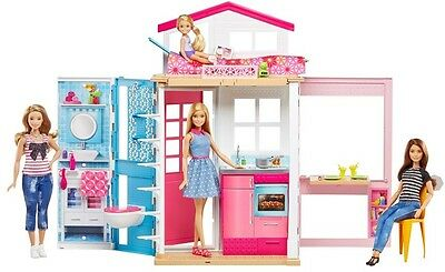 Barbie Cute Two Story House and Doll Modern Holds Fun Surprises Portable Design