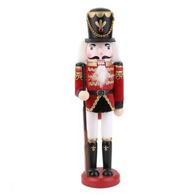 Hand Painted Nutcracker Soldier Guard with Rifle Wood Desk Ornament Decor