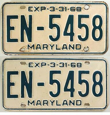Maryland 1968 License Plate YOM PAIR for Ford Chevy MOPAR Buick Pontiac Lincoln