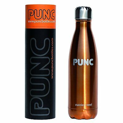 Punc Stainless Steel Insulated Hot or Cold Drinks Bottle - 500ml - BRONZE