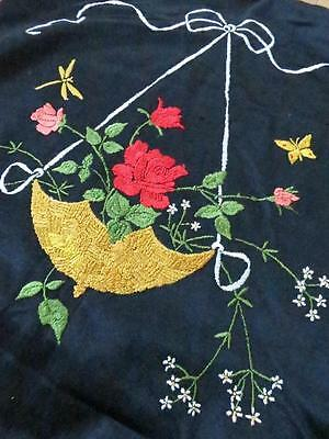 Edwardian Black Silk Hand Embroidered Cushion Cover- Basket of Roses