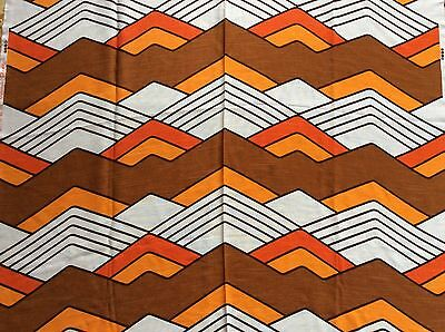 VINTAGE RETRO UNUSED DEKOPLUS CURTAIN FABRIC GEOMETRIC ORANGE BROWN 70s