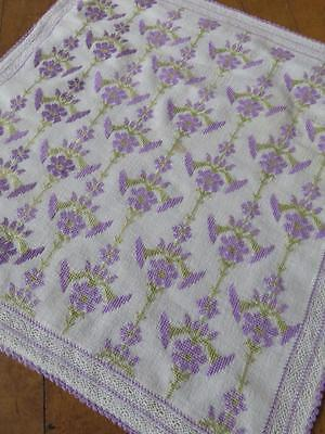 Vtg Turkish Hand Embroidered Cushion Cover- Cross Stitch Flowers & Bobbin Lace