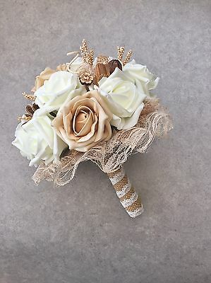Hessian Roses Buttons Dried Flowers Lace Rustic Vintage Brides Wedding Bouquet