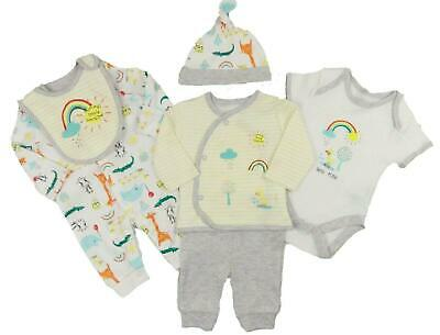 Baby Boys Layette Basics 6 Pce Set Sleepsuit Vest BodySuit Hat Bib Mitts RRP £14