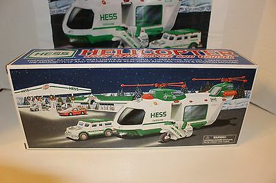 2001-Mint- Hess Helicopter W/motorcycle & Cruiser Mint