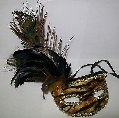 New Orleans Mardi Gras Mask Animal Print Tiger Peacock Feathers Masquerade