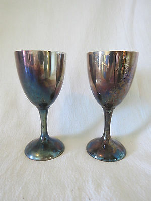 """Pair Vintage International Silver Co Wine Glasses Goblets Silverplate 6"""" Tall"""