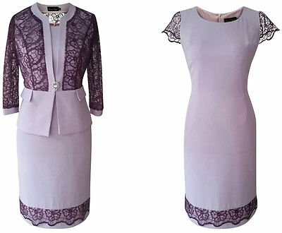 Purple Lilac Lace Mother Of The Bride Outfit 2 Piece Formal Jacket Dress Size 18