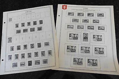 L35 Laos Stamps 15 Minkus Pages from 1951-1975 w/ stamps & 1 Labuan page