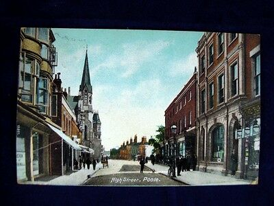 Vintage Postcard 1925 – High Street Poole Early Colour Photo