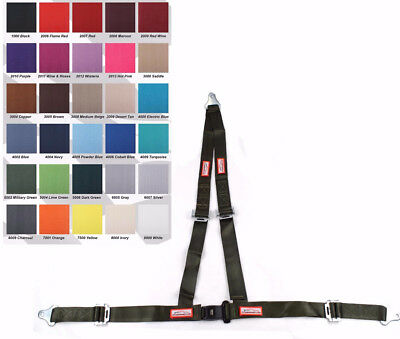 "Off Road 2"" Snap Clip In Seat Belt 3 Point V Harness Military Green 30 Colors"