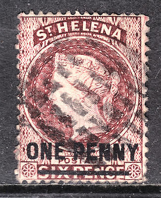 1868 ST. HELENA, SHORT BAR SURCHARGE #18 1p on 6p BROWN RED, F, GRID