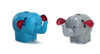 Set of 2 Dancing Blue and Gray Elephants Solar Power Toy - Home Car US Seller