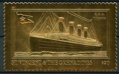 St Vincent & The Grenadines 1998 MNH Titanic 1v Gold Stamp Ships Boats Stamps