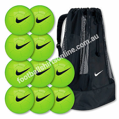 FOOTBALL 10 x NIKE TRAINING BALLS  (SIZES 3 or 5) GREEN + NIKE BALL CARRIER