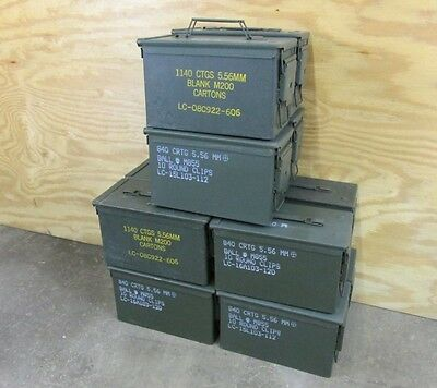 50 Cal Ammo Can Box 1,2,3,4,6, or 12 Pack Army Military M2A1 Metal Storage 5.56