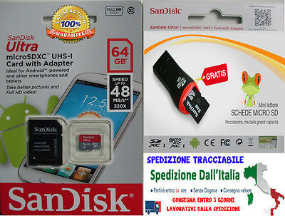 SanDisk 64GB Class 10 Ultra 320x 48MB/s UHS-I Micro SD SDXC + OMAGGIO MICRO SD