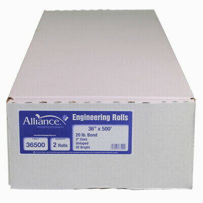 "Alliance Bond Engineering Rolls, 36"" x 500' x 3"" Taped 20lb, 2 Rolls"
