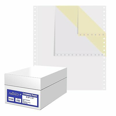 Carbonless Computer Paper, 9.5x11 Blank L&R Perf 2-Pt White/Canary 15lb 1700/Ctn