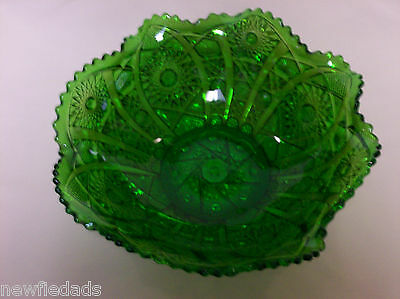 OCTAGON in GREEN Collar base antique Rare old  Imperial Carnival glass ROUND