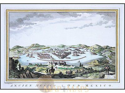 Ancient Mexico city Antique engraving by Bellin 1754