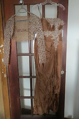 NWT 2PC Cinnamon Sequence Evening Formal Cocktail Wedding Dress JEAN DELYS S~6