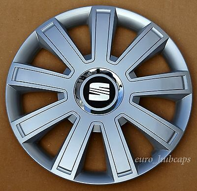 """Silver   15"""" wheel trims, Hub Caps, Covers to fit Seat Ibiza,Leon"""