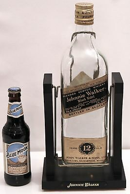 Vintage JOHNNIE WALKER Black Label Bottle Display on Swinging Metal Wood Cradle