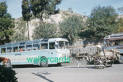 KODACHROME Red Border Slide 1950s Old Bus Donkey Cart Street Road Europe Spain ?