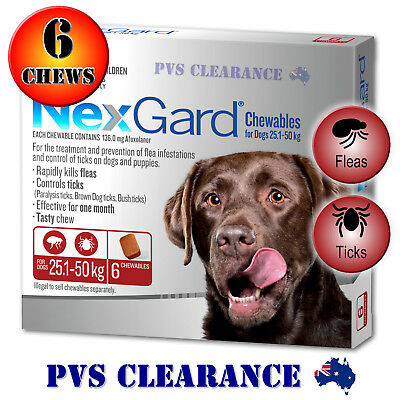Nexgard Red 6 for Large Dogs 25.1 - 50 kg  6-Pack Nexguard Flea & Tick